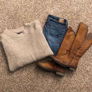 American Eagle Cloudspun waffle knit sweater